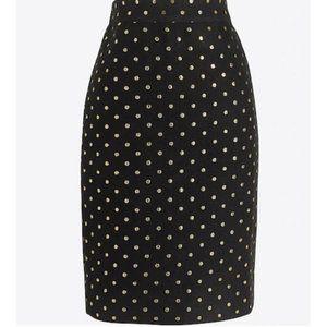 J Crew Factory Black & Gold Dot Pencil Skirt 00